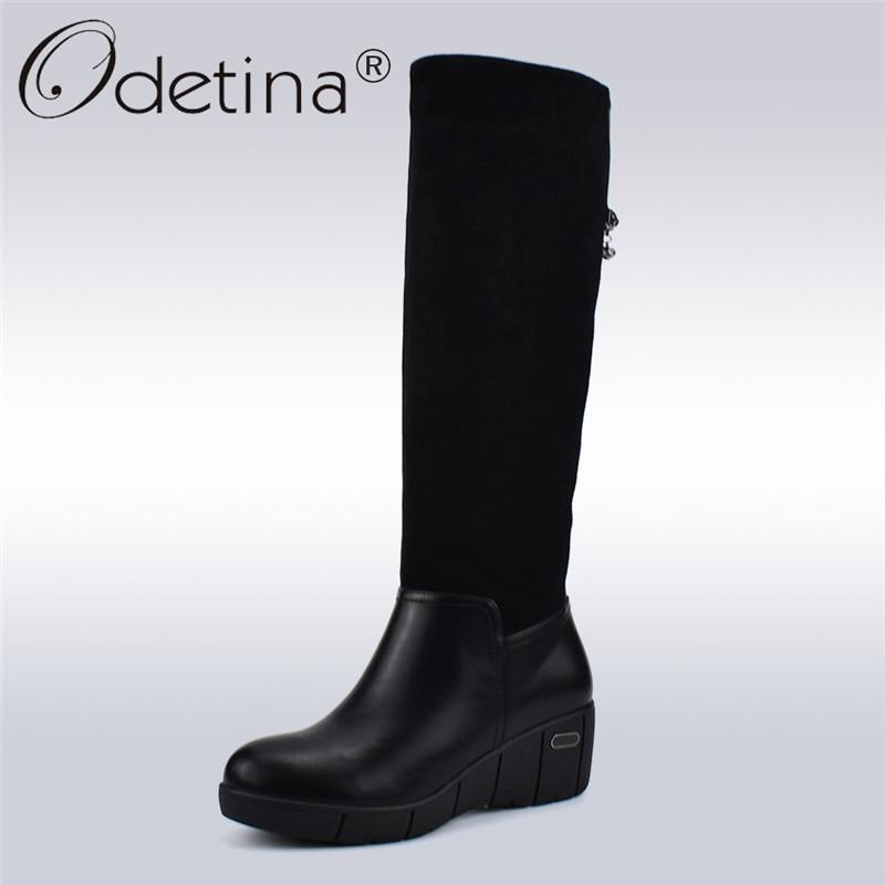 ee9c0d793103 Odetina Fashion Women Knee High Boots Winter Shoes Black Side Zipper Warm  Fur Wedge Platform Half
