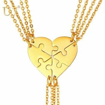 50d344ae90b5 U7 Collar para 6 roto corazón colgante collares Puzzle gargantilla  personalizada joyería BFF Collier amistad regalos de cumpleaños P1242