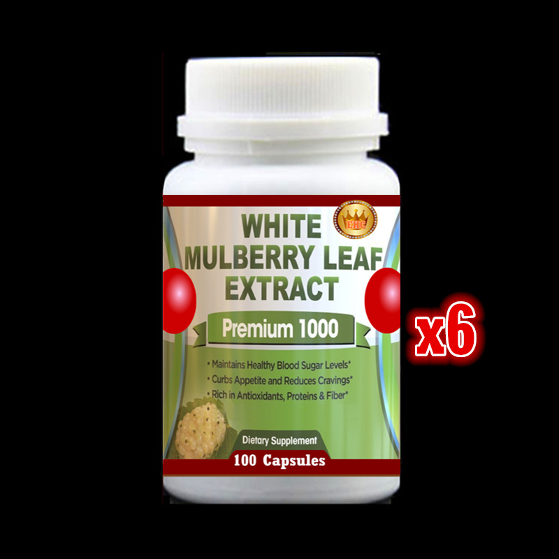 6 bottles 2017 Natural White Mulberry Leaf PE. Low Blood Sugar Weight Loss Support,Free shipping and duty - 100pieces/bottle mulberry leaf extract powder natural mulberry leaves p e 10 1 health care herbal dietary supplements