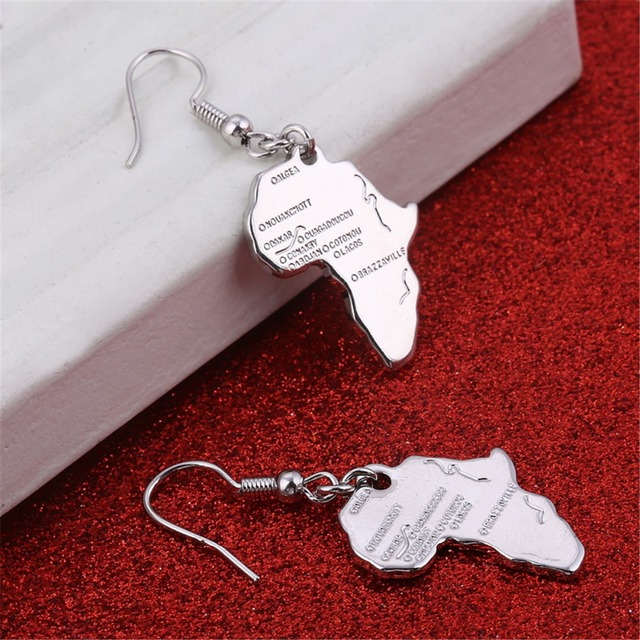 Aliexpresscom Buy Africa Map Earrings Silver Rose Gold Color