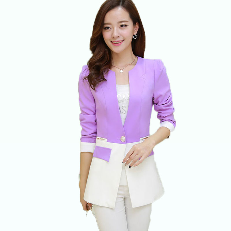 beautiful bright contrast color jeckets and blazers women single button silm blazer purpleyellow coats beautiful bright office