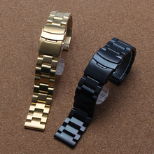 Double safety buckle Stainless steel watchband Bracelets Gold Black Watch accessories 18mm 20mm 22mm 24mm solid