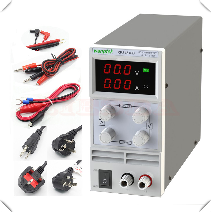 Wholesale KPS1510D KPS1505D 15V 10A 5A digital adjustable Mini DC Power Supply Switch DC power supply 0.1V 0.01A rps3020d 2 digital dc power adjustable power 30v 20a power supply linear power notebook maintenance