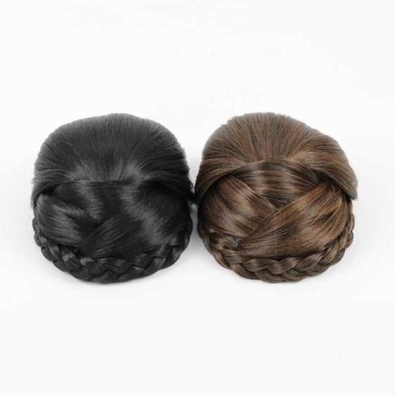 Black Braided Clip In Hair Bun Chignon Hairpiece Donut Roller Bun Hairpiece long12cm free shipping