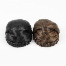 Черный Плетеный клип в пучок волос Шиньон парики Donut ролика Bun парики long12cm Бесплатная доставка