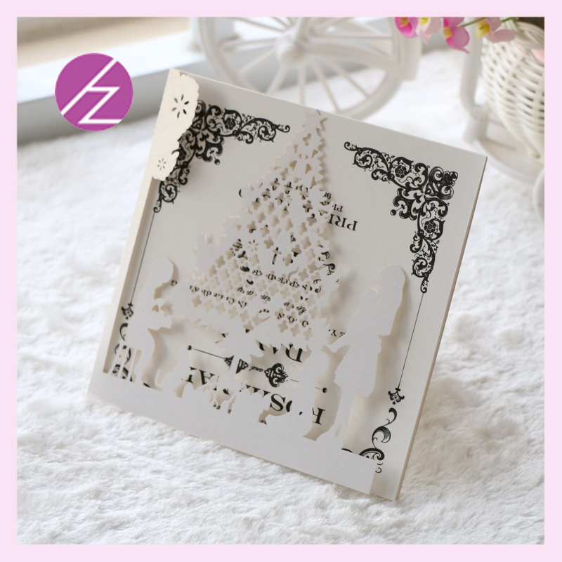 12pcs Free Shipping Happy Christmas Tree Design Wedding Party Invitations Card Unique Laser Cut Decoration For Home In Cards From