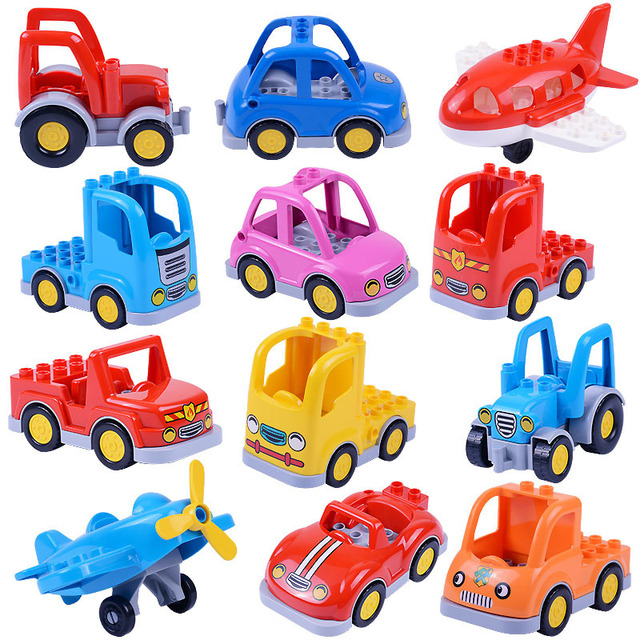Locking Duplo City Cartoon Car Trailer Truck Tractor Airplane Model Building Block City Lockings Children Educational       Toys