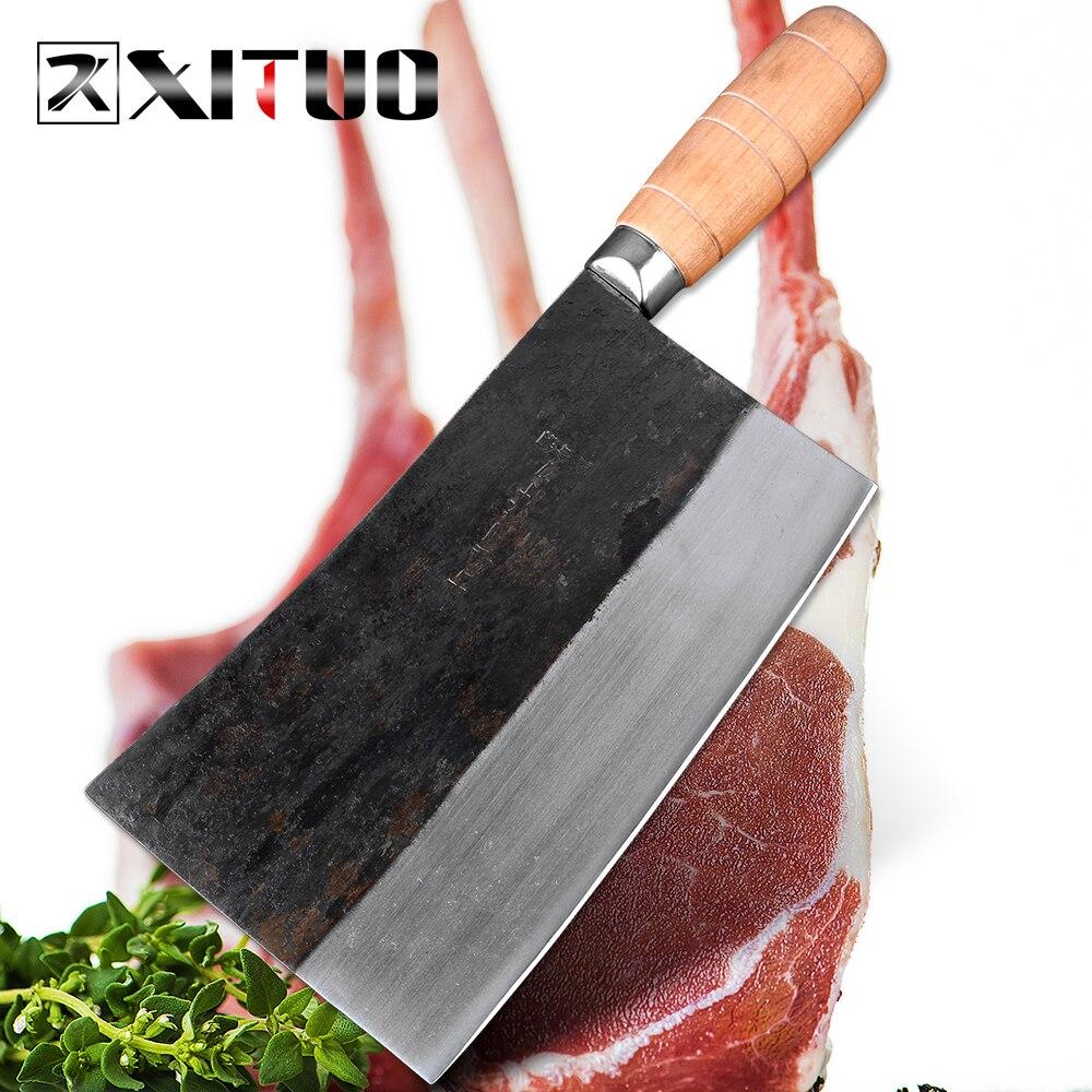 XITUO les derniers grands couteaux d'abattage de boucher de couperet de viande chinois asiatique en acier à haute teneur en carbone
