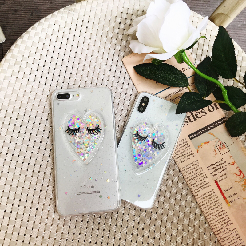 US $2 51 40% OFF|Lashes Glitter Transparent Case Coque for iPhone 6 6s for  iPhone 7 7plus 8 Plus X Soft Clear Anti Slipping TPU Phone Back Cover-in