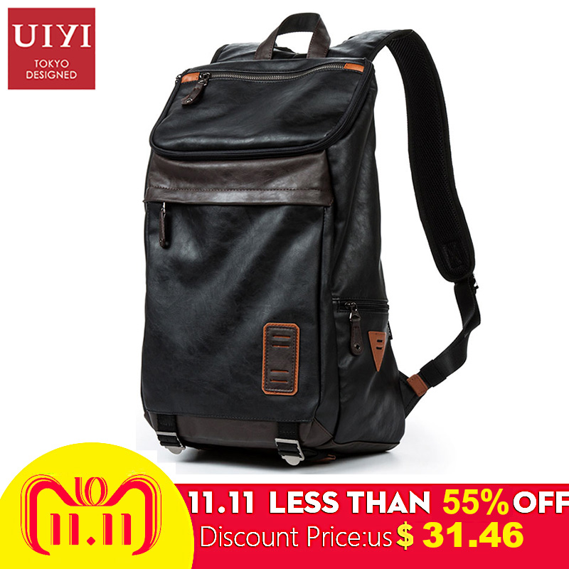 UIYI New Men PU Backpack Trends Youth Student School Bag Travel Men Bag Boys Bags Backpacks Computer Bags Backpacks for Teenager стоимость