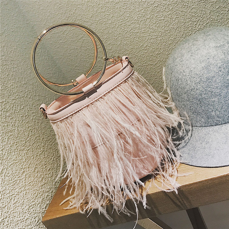 Feather Women bag 2018 New Handbag High quality PU Leather Tassel Bucket bag Metal Ring Portable Tote bag Chain Shoulder bags metal ring pu leather tote bag