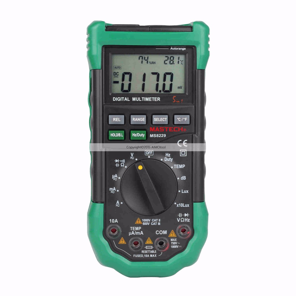MASTECH MS8229 Auto Range LCD Backlight DMM Digital Multimeters w/ Noise Illumination Temperature & Humidity Tester my68 handheld auto range digital multimeter dmm w capacitance frequency