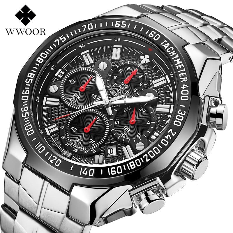 WWOOR Men Quartz Watch Fashion Top Brand Sports Watches Fashion Luxury Stainless Steel Waterproof Men Watch Relogio Masculino|Quartz Watches| |  - title=