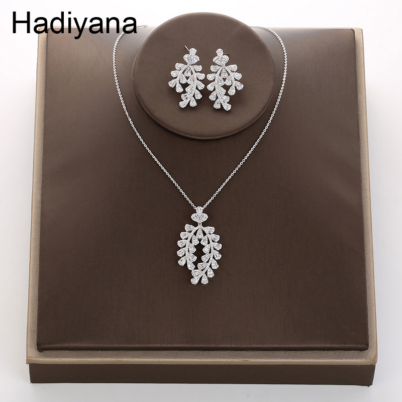 Hadiyana Europe and America Selling Simple Copper Leaf Branch Necklace & Earring Set Fashion Zircon Lady Accessories TZ5040