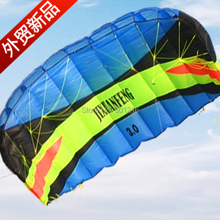 High quality 210cm Dual Line yellow blue stunt Parafoil Power Kite foil sport kite  Free 300lbs flying line and handstrap