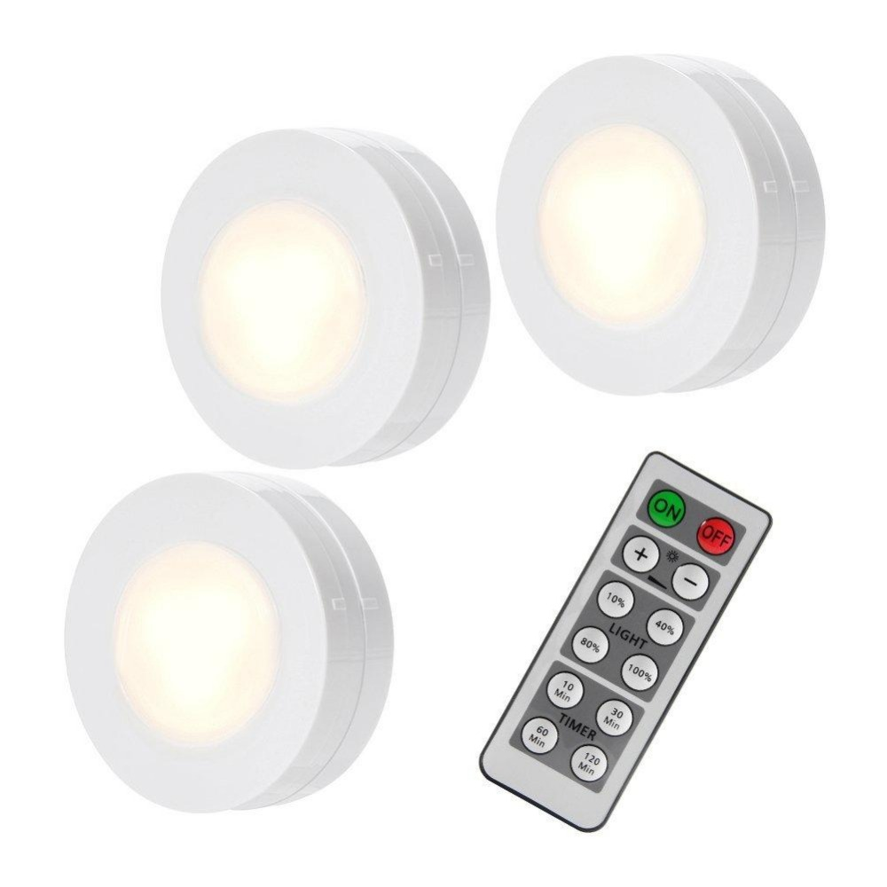 LumiParty night lights moon lamps 3 Packed LED Puck Remote Controlled Closet Lights AAA battery light luna moon lamp