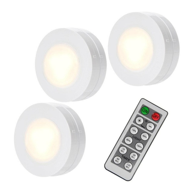 LumiParty Night Lights Moon Lamps 3 Packed LED Puck Remote Controlled  Closet Lights AAA Battery Light