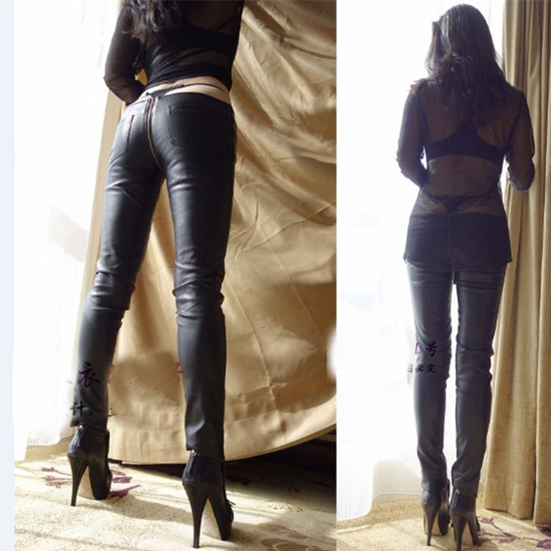 Sexy Zipper Open Crotch Pencil   Pants   Faux Leather Women Leggings Low Waist Gothic Pencil Hot   Pants     Capris   Club Dance wear 83