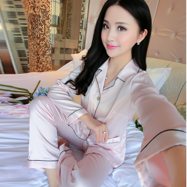 Women Elegant Silk Satin Pajama Set Long Sleeve Pijama Set V-neck Pyjama Femme Solf Sleep Wear Night Wear Fashion Home Clothes 8