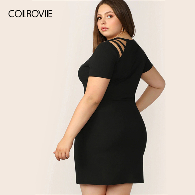 COLROVIE Plus Size Black Solid Cut Out Bodycon Elegant Dress Women 2019 Summer Short Sleeve Pencil Mini Office Ladies Dresses 1
