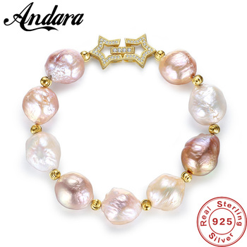 S925 Sterling Silver 100% Natural Colours Baroque Big 13-14mm Pearl Bracelet Fashion Jewelry Bracelets For Women