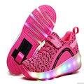 Niños roller shoes con ruedas kids shoes zapatilla de deporte con ruedas luminoso para hombre mujer niña shoes hot 27-43