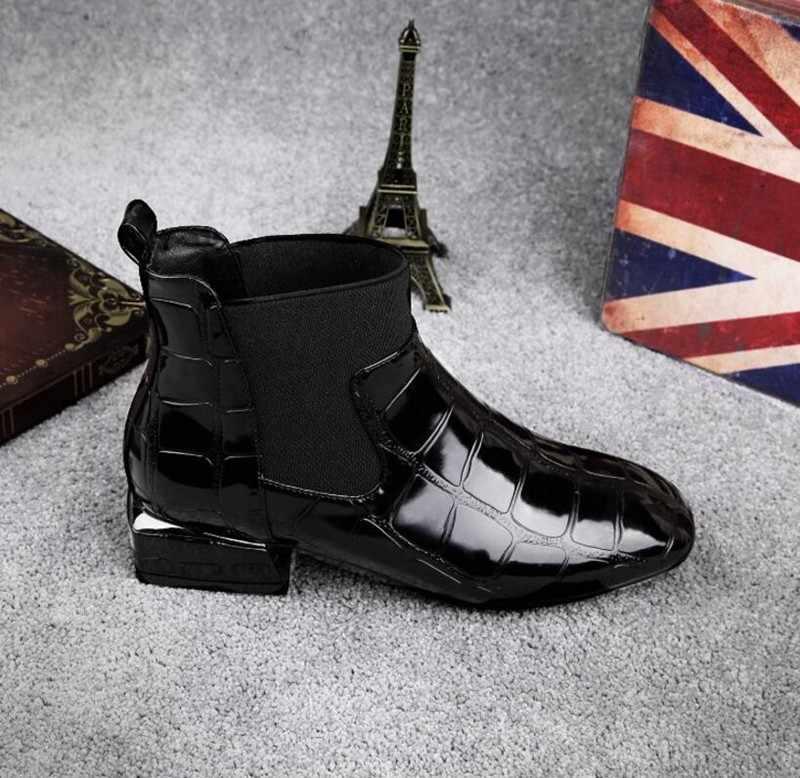 COOTELILI Lüks Kadın Botları Kış Ayakkabı Topuklu yarım çizmeler Motosiklet Serseri Ayakkabı Kadın Sıcak Siyah Artı Boyutu Kare Ayak Ayakkabı