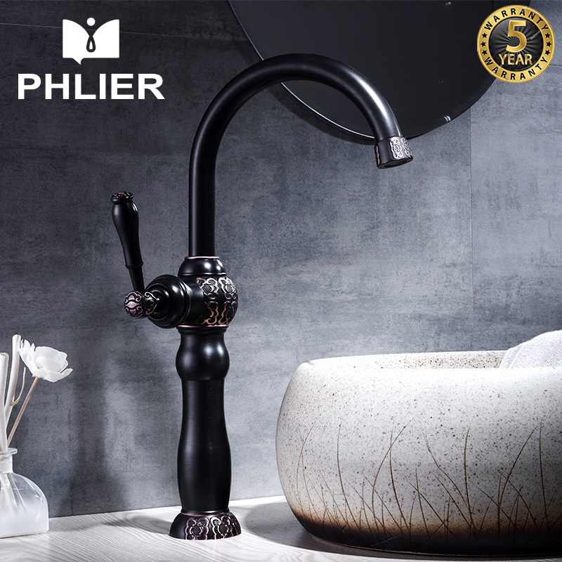 PHLIER Oil Rubbed Bronze Bathroom Faucet Single Handle Vessel Mixer Water Tap Black Brass Basin Mixer Cold and Hot Bathroom Taps new water pump look style black oil rubbed antique brass single handle bathroom faucet sink basin cold hot mixer tap anf432