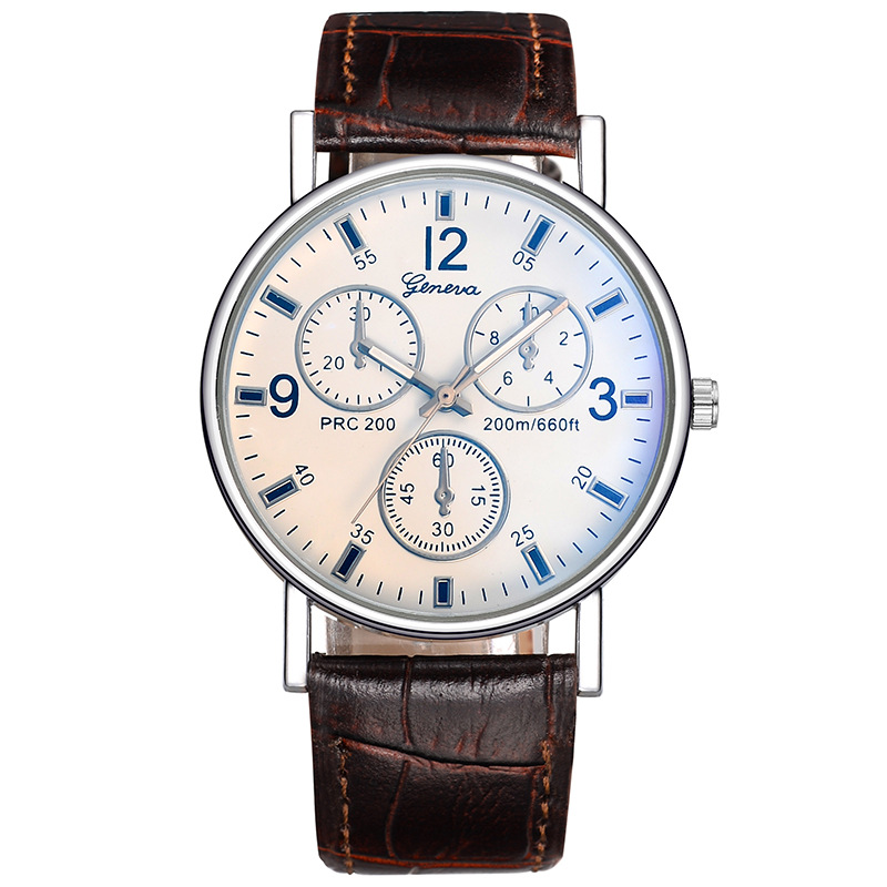 Mannen Business Style 3-eye horloge 2018 Fashion Casual Heren Lederen - Dameshorloges - Foto 2