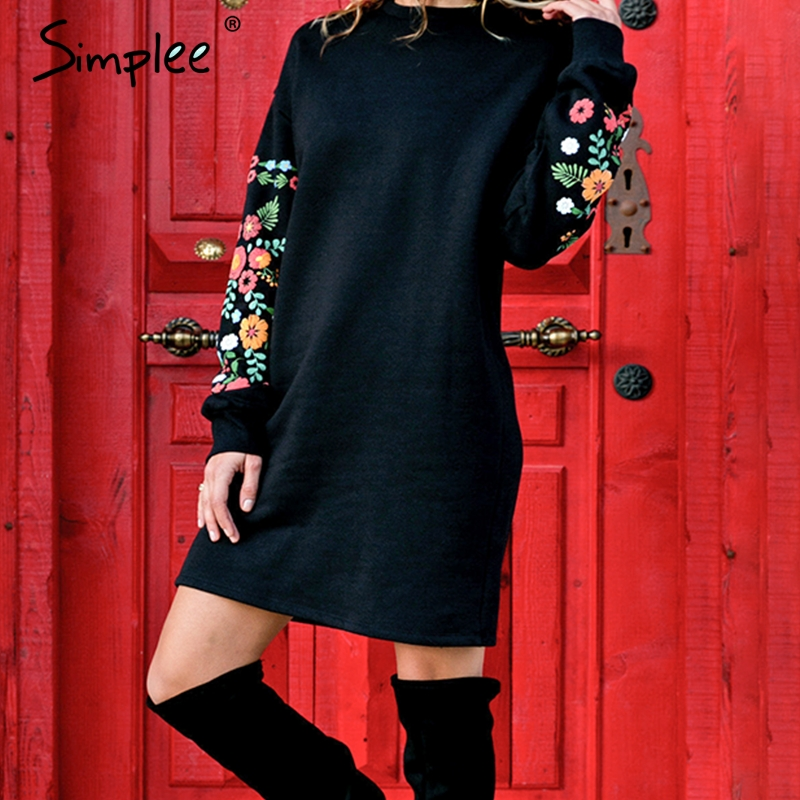 US $12.49 50% OFF|Simplee Elegant black women winter mini dress Floral print long sleeve O Neck loose sweatshirt dress Embroidery vestidos 2018-in Dresses from Women's Clothing on Aliexpress.com | Alibaba Group