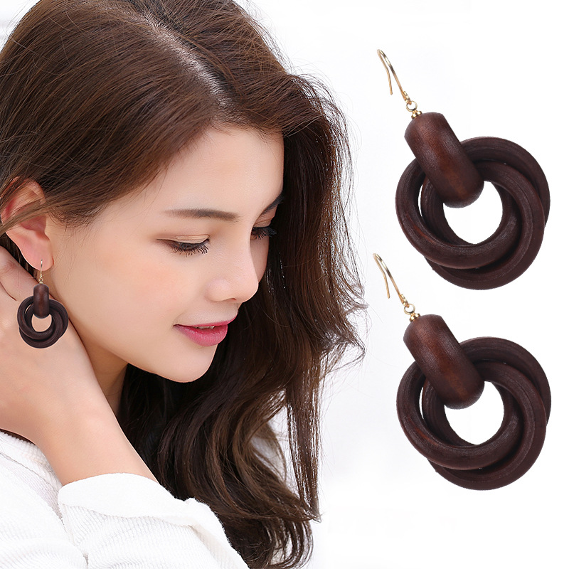 KEJIALAI Round Spiral Fashion Wood Earrings For Women Circle Wood Drop Dangle Earrings National Ethnic Earrings HJ-SJR1729