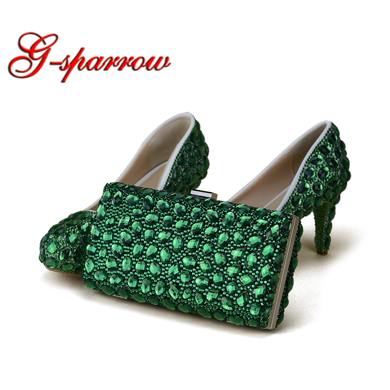 Green Rhinestone Handmade Wedding Shoes with Clutch Bag 3 Inches Thin Heel Performance Pumps Party Prom