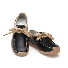 Round Toe Woman Shoes Women Lace Up Leather Casual Flat Loafers Fashion Color Match Soft Sole Ladies Flats Patchwork