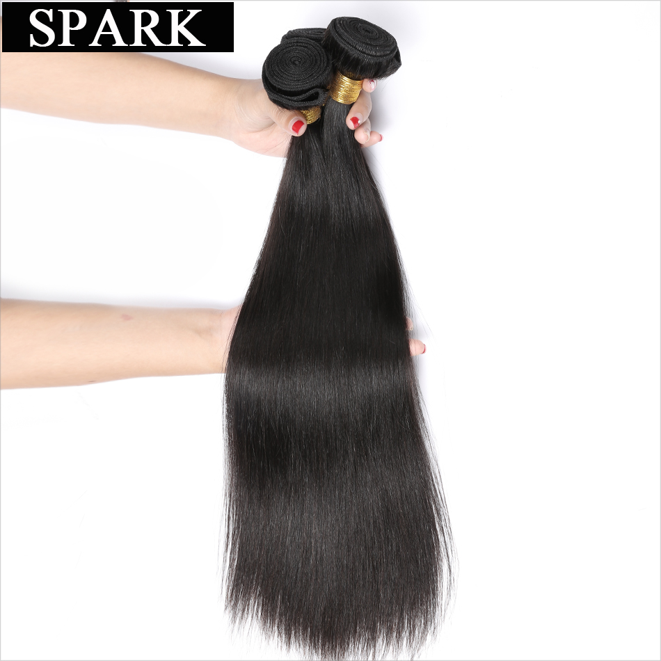 Spark Remy Hair Extensions Malaysia Straight Hair 3 Bundles Deals Human Hair Weave Bundles 8-26inch 1B Natural Color Can Be Dyed