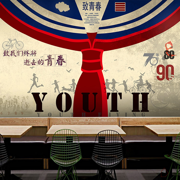 Free Shipping Retro nostalgia youth wallpaper bar milk tea shop cafe KTV personalized Cafe wallpaper large background mural free shipping personalized fashion figure puzzle 3d wallpaper salon bedroom wallpaper background bar ktv mural