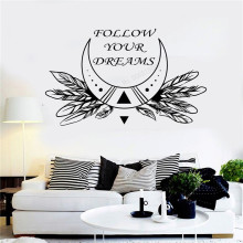 Wall Art Sticker Follow Your Dreams Words Room Decoration Vinyl Poster Removeable Decal Moon Rustic Mural Beauty LY469