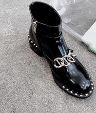 Hot Fashion Black Genuine Leather Ankle Zip Shoes Round Toe Flat With  Womens Chain Rivet Boot s