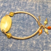 fine jewelry factory wholesale SGARIT brand 925 silver ethnic natural yellow amber diy bracelet hand make jewelry for women
