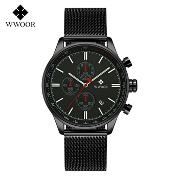 WWOOR Fashion Quartz Mens Watches Chronograph Auto Date Wrist Watch Mesh Stainless Steel Wristwatches Relojes Para Hombre 8862
