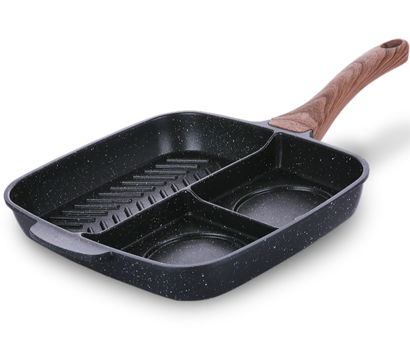 25*27cm Breakfast Triad Titanium Pan Non-stick Frying Professional Steak Pan Fried Pot Casting General Use Kitchen Cooking Tools