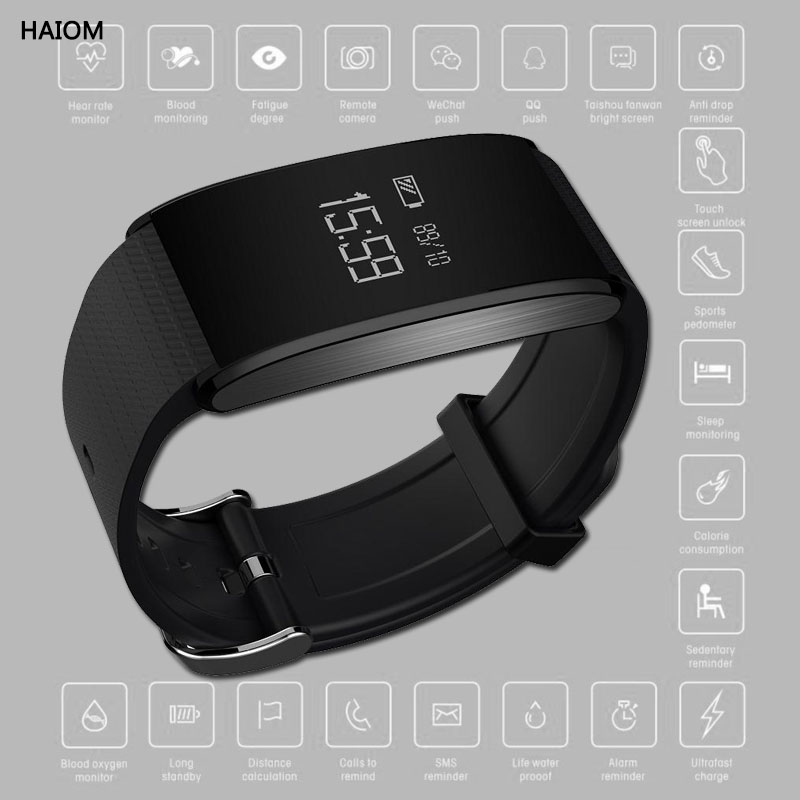 HAIOM Smart Watch Sport Fitness Bracelet Waterproof Fitness Trackers With Blood Pressure Monitor Oxygen Activity For