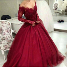 New Arrival Women Arabic Evening Gowns V-neck Long Sleeve Beaded Applique Floor Length Ball Gown Burgundy Dress 2016