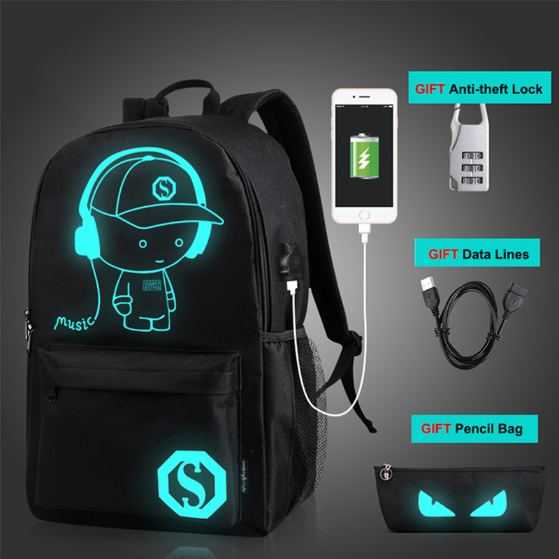 Student School Backpack Anime Luminous USB Charge Schoolbag Laptop Backpack For Teenager Boys School Bag Bagpack anime tokyo ghoul dark in light luminous satchel backpack schoolbag shoulder bag boys gilrs cosplay gifts