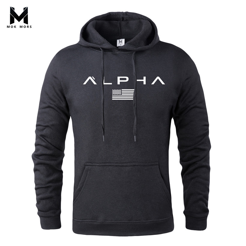 MOK MORS M 2018 Autumn Printed Sportswear Men Gyms Bodybuilding Sweatshirt Hip-Hop Male Hooded Hoodies Pullover Hoody Clothing