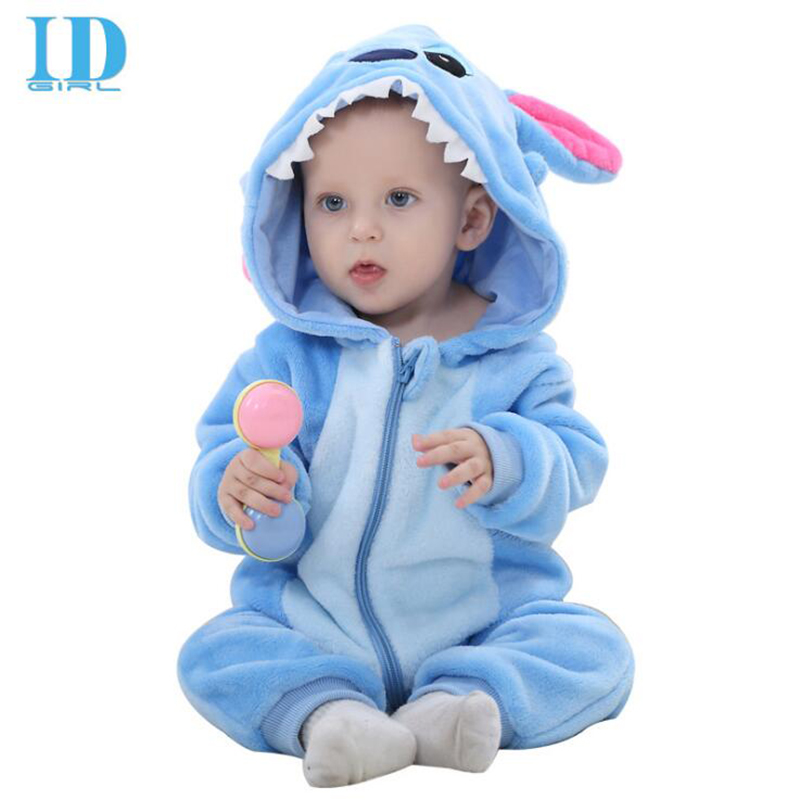 IDGIRL Baby Clothes 2017 Infant Romper Baby Boys Girls Jumpsuit New born Bebe Clothing Hooded Toddler Cute Stitch Baby Costumes