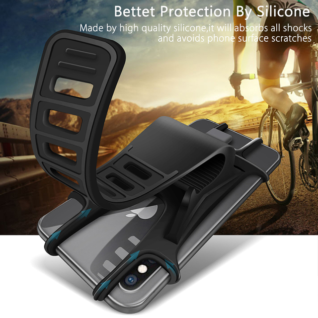 Raugee Bicycle Phone Holder Silicone Soft Bike Handlebar Clip Stand GPS Mount Bracket For iPhone Samsung Mountain Motor 5.5 6.0