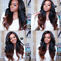1B Auburn Two Tone 1B 30 Wave 150 Density Glueless Full Lace Human Hair Wigs Wavy Ombre Brazilian Lace Front U Part Wig