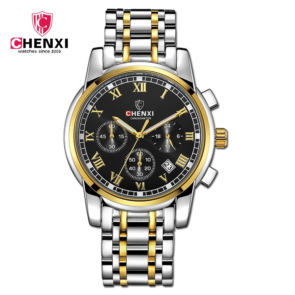 CHENXI Brand Watches Men Multifuntional Gold Watch High Quality Steel Strap Business Quartz Clock Chronograph Wristwatch NATATE chenxi steel strap tachymeter quartz watch
