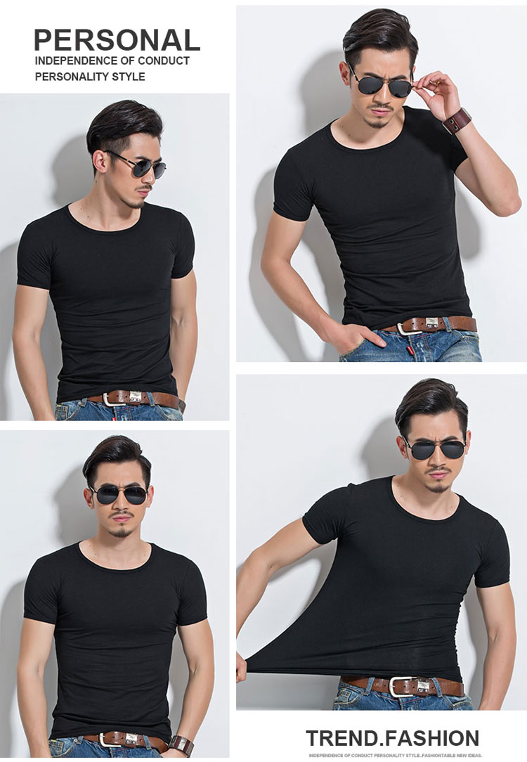 HTB1itY3SpXXXXXjXFXXq6xXFXXXY - Lycra Men'S T Shirt Short Sleeve T-Shirt O-Neck Slim Solid Color Half Sleeved Tee Shirt MRMT