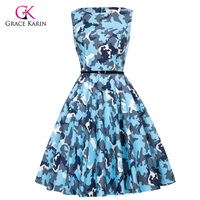 Grace Karin Short Cocktail Dresses Camouflage Print Floral Retro Robe Vintage 50s Rockabilly Plus Size Evening